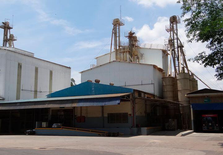 A imagem está mostrando uma fábrica de rações, é uma fabrica com telhado de ferro azul, com algumas estruturas como escadas e uns silos do lado direito da fábrica. A imagem também mostra uma pequena garagem pelo lado direito com um caminho dentro.
